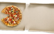 top view of a pizza in pizza box